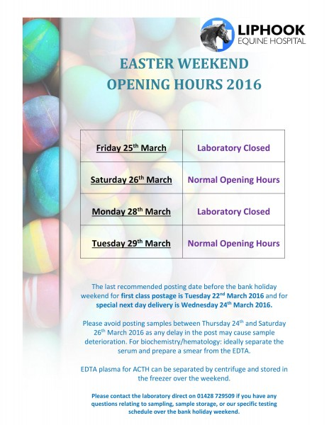 Lab Easter Bank Holiday Hours 2016